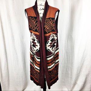 Daytrip Open Long Cardigan Vest Aztec Pattern Fall